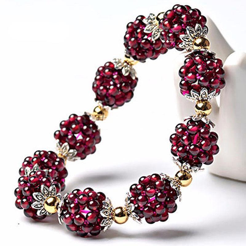 Hot Sale High quality Natural garnet bracelet fashion women crystal bracelet jewelry gifts