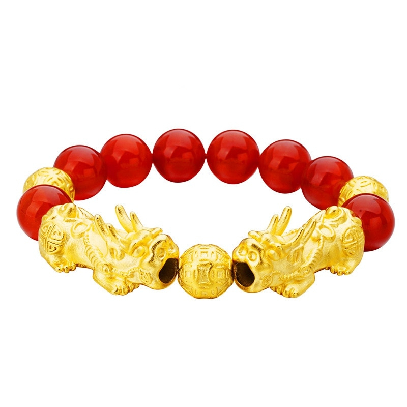 Double PIXIU 24KT Gold-Plated Bracelet with semi-precious stones