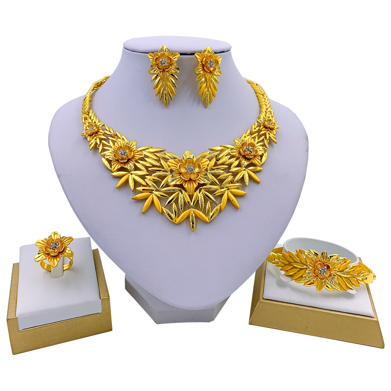 Indian Bridal Gold Necklace, bracelet, ring and earrings set