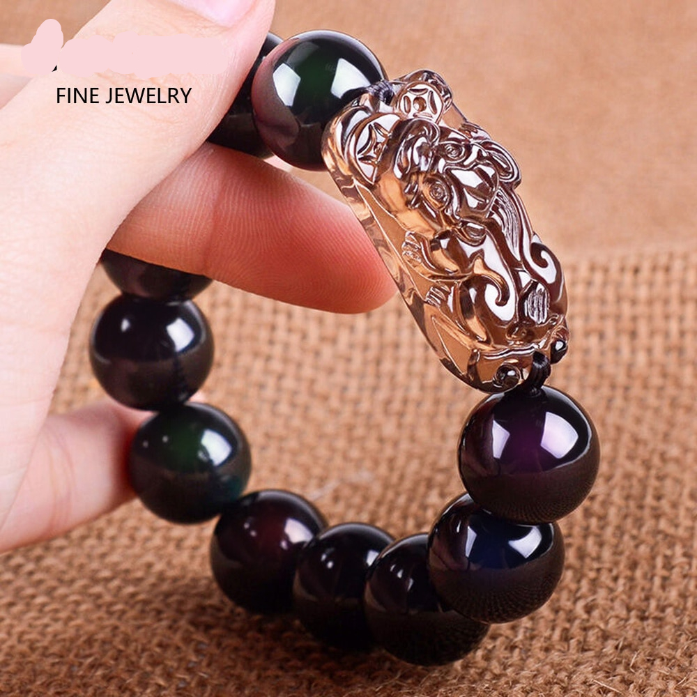 Natural Black Obsidian Beads With Ice Obsidian Pixiu