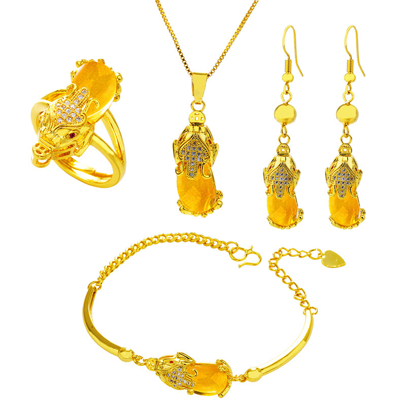 24K Gold Blessed Necklace, Earring, Ring and Bracelet set (different colors)