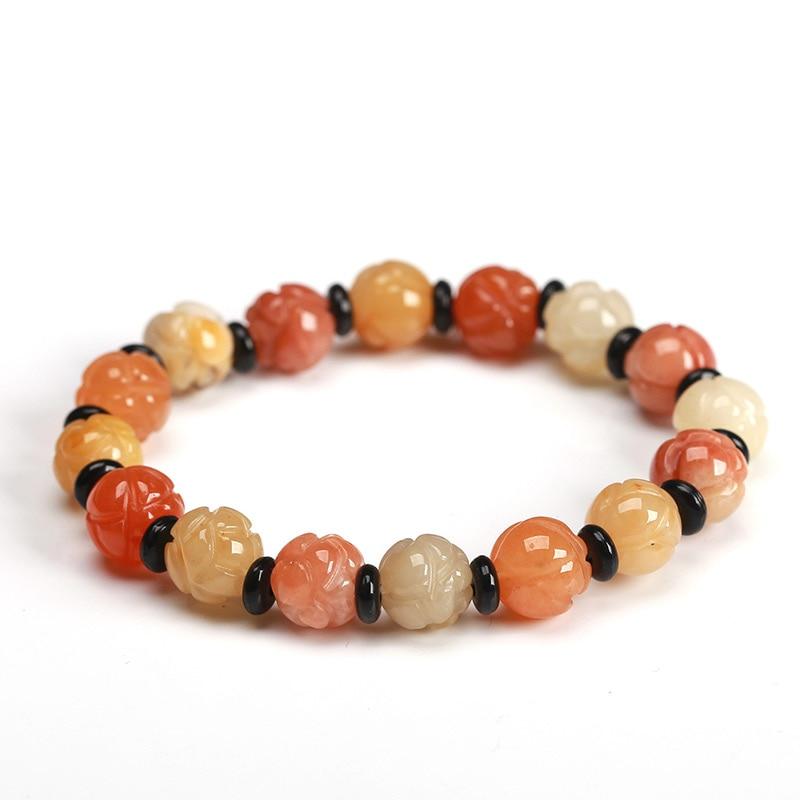 Natural Gold Jade Beads Hand-Carved Flower Bracelet