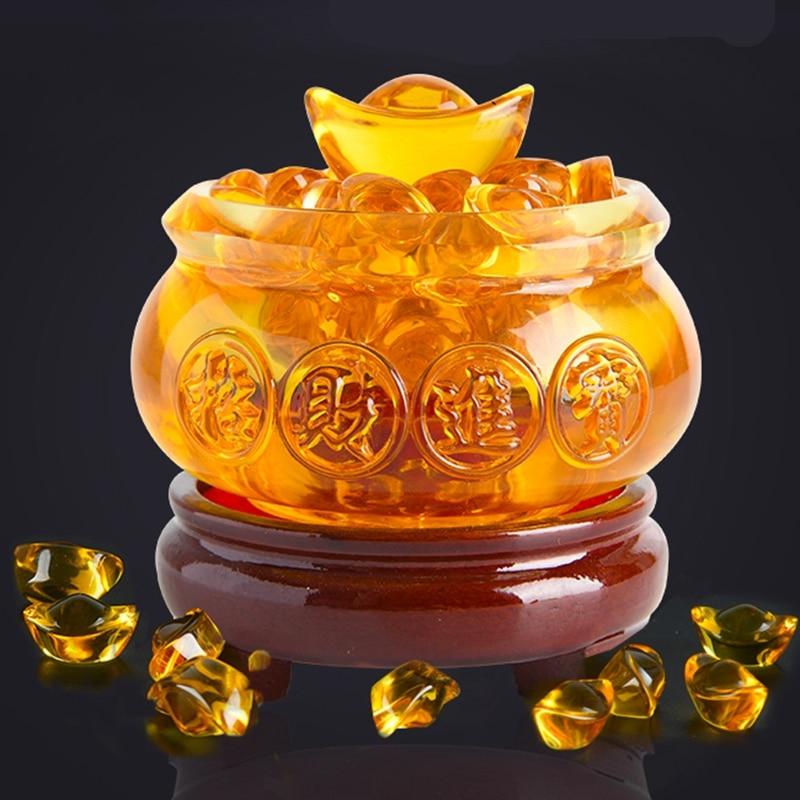 Yellow Crystal Glaze Chinese Fengshui Wealth Yuanbao Dragon Treasure Bowl