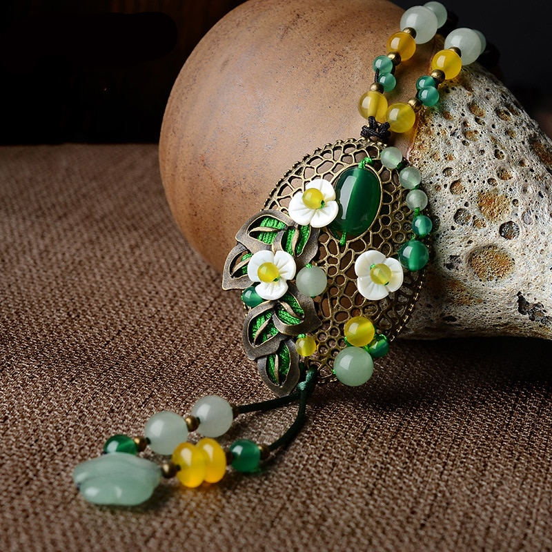 Ethnic Colorful Natural Stone Vintage Necklace
