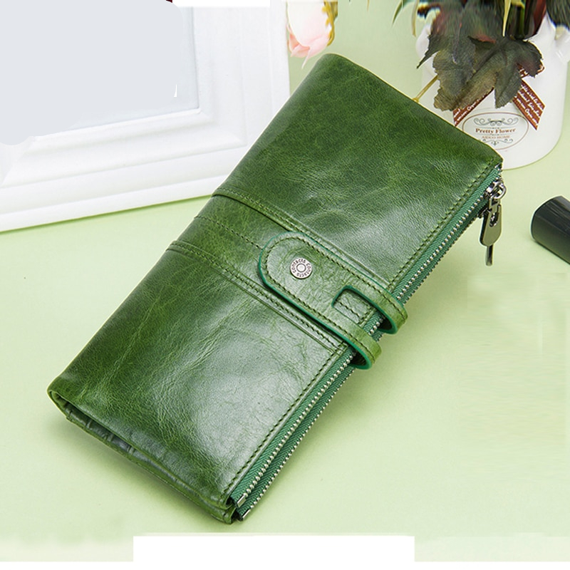 Genuine Leather long wallet hasp card holder coin purse clutch phone bag RFID Protection