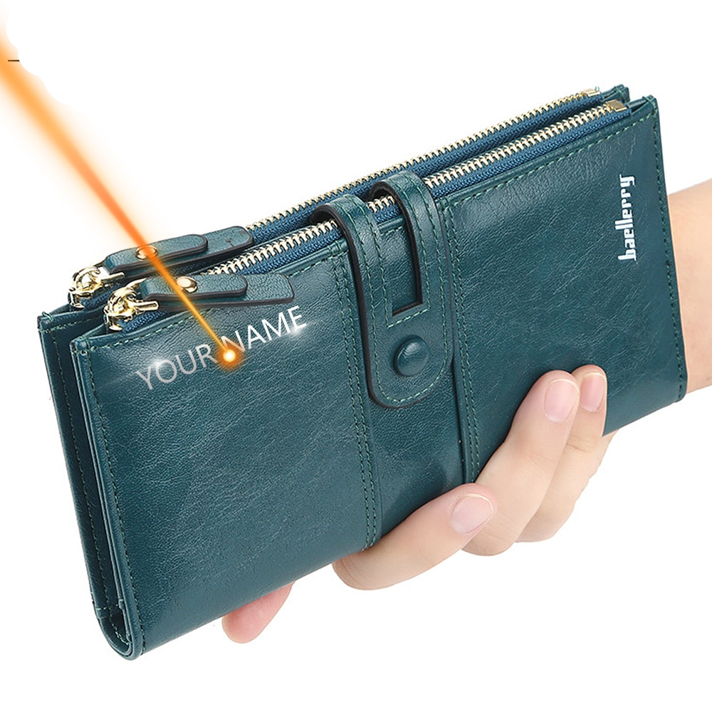 Long Leather Top Quality Card Holder Classic Female Purse  Zipper Brand Wallet