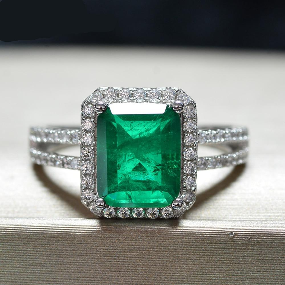Luxury Top Quality Emerald Ring 100% 925 Sterling Silver