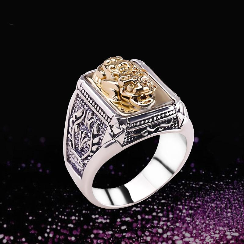 925 Sterling Thai Silver Men's Chinese Lucky Pixiu Ring