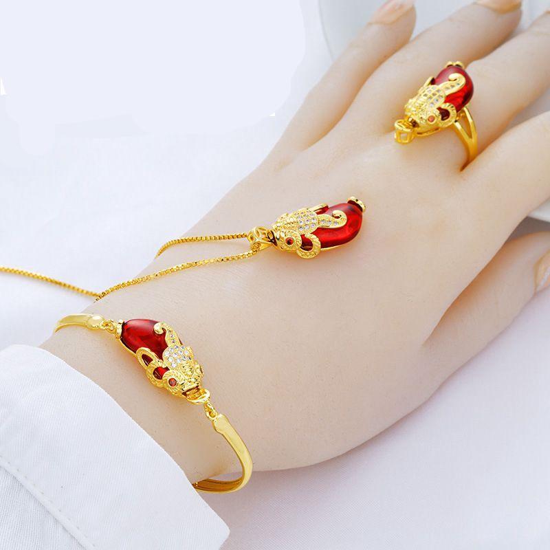 OMHXFC Wholesale European Fashion Woman Girl Party Wedding Gift PIXIU Zircon 18KT Gold Necklace+Ring+Bracelet Jewelry Set SS07