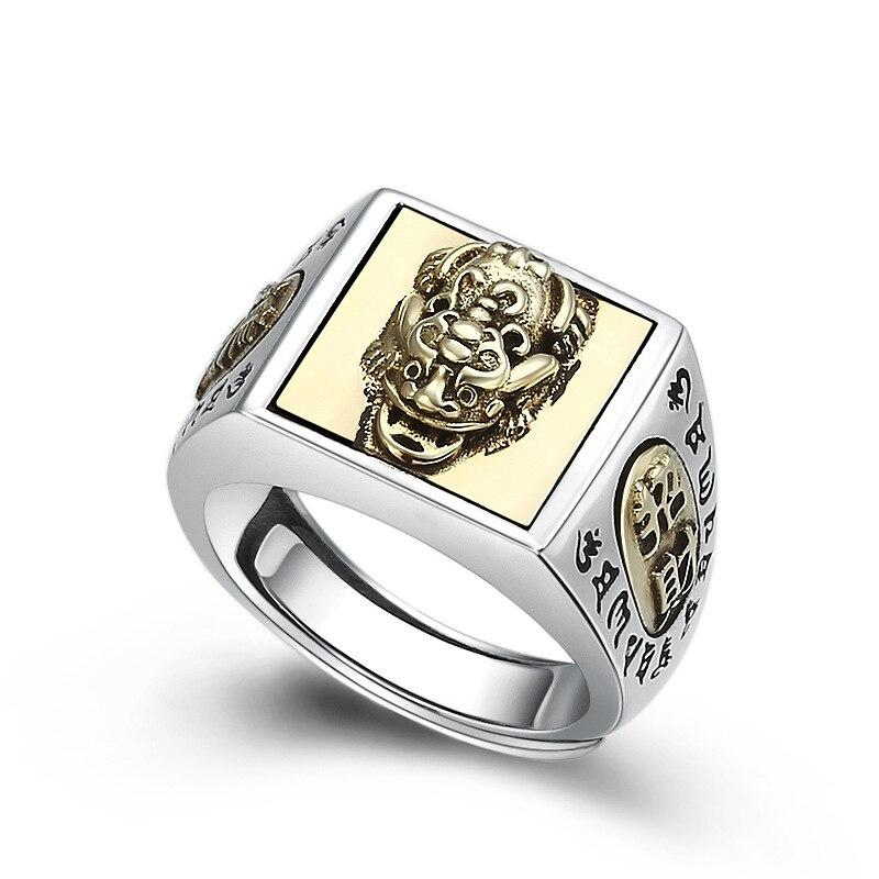 FNJ 925 Silver Ring Pixiu Animal Punk New Fashion Original S925 Sterling Silver Rings for Men Jewelry Adjustable Size Buddha
