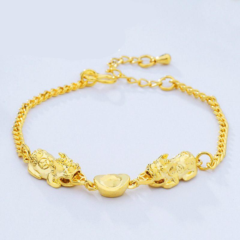 OMHXFC Wholesale European Fashion Woman Girl Party Birthday Wedding Gift Elegant Vintage PIXIU Link 24KT Gold Bracelets BE250