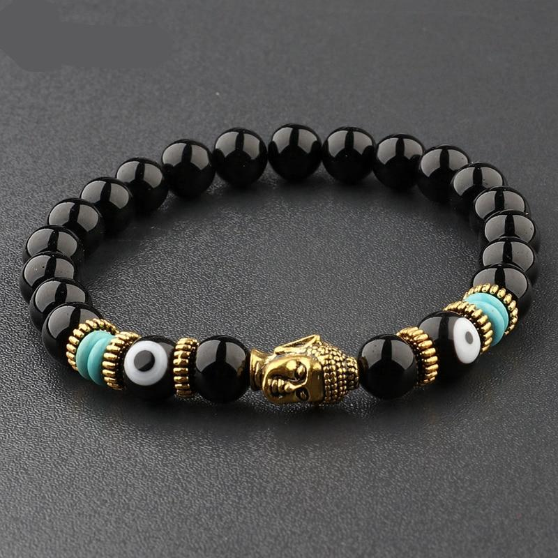 Charm Buddha and Evil Eye 8mm Natural Bright Stones Chakra Bracelets Different Colors