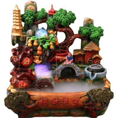 High Landscape Car Feng Shui Wheel Fortune Fish Tank Rockery Flowing Water Ornaments Fountain Living Room Home Indoor Good